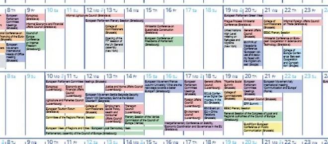Eiropas Kustības viedotais ES notikumu saraksts