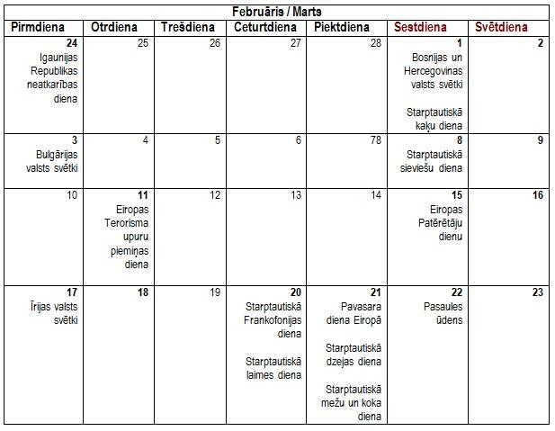 LAST calendar